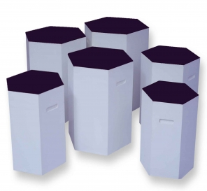 Pulcro Purple & White Hexagonal Stools (PU)