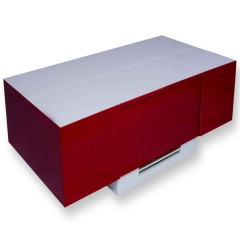 Cryno Red & White Center Table (Metallic PU-MICA)