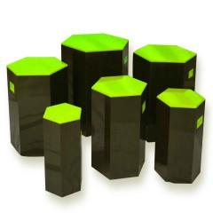 Pulcro Green & Brown Hexagonal Stools (PU)