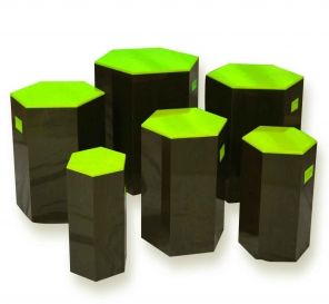 Pulcro Green & Brown Hexagonal Stools (PU)