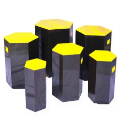 Pulcro Yellow & Brown Hexagonal Stools (PU)