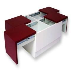 Arcade Junior Red & White Center Table (PU Metallic – MICA Combo)