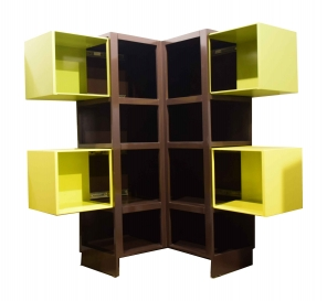 Alcove Brown Yellow Green Extendable Corner Cabinet