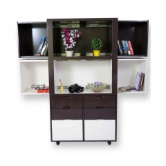 Creser Brown White Extendable Moving Cabinet