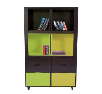 Creser Brown Yellow Green Extendable Moving Cabinet