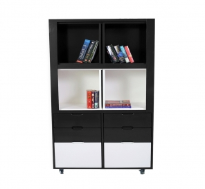 Creser Grey White Extendable Moving Cabinet