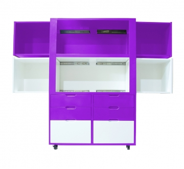 Creser Purple White Extendable Moving Cabinet