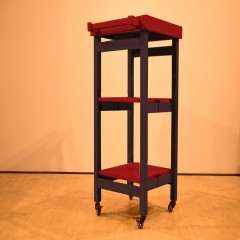 Utileco Red Brown Serving Trolley (PU)