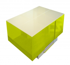 Cryno Parrot Green & White Center Table (Polyester-MICA)