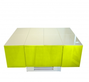 Cryno Parrot Green & White Center Table (PU-MICA)