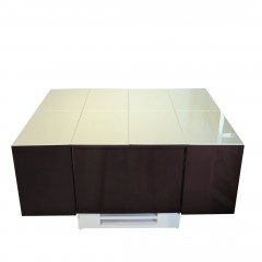 Cryno Dark Grey & White Center Table (Metallic PU-MICA)