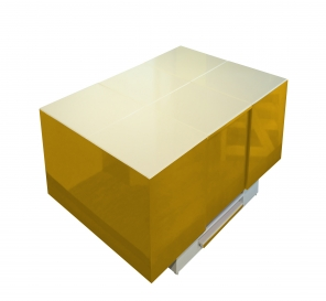 Cryno Mustard Yellow & White Center Table (Polyester Top)