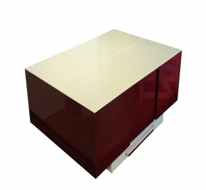 Cryno Wine Red & White Center Table (Polyester Top)