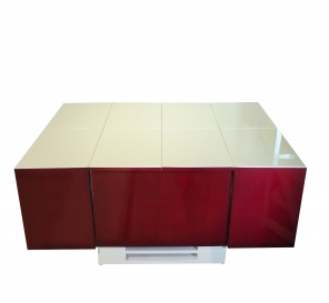 Cryno Wine Red & White Center Table (PU)