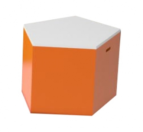 Pulcro Orange & White Pentagonal Stools (PU)